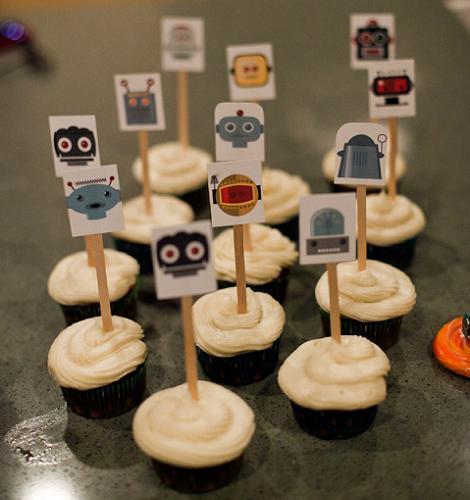 Cupcakes de robots