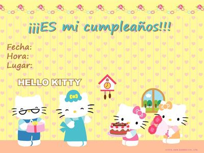 invitaciones cumple imprimir hello kitty