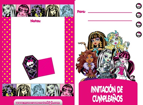 invitaciones cumple imprimir monster high