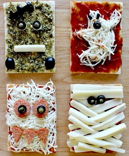 recetas halloween faciles mini pizzas