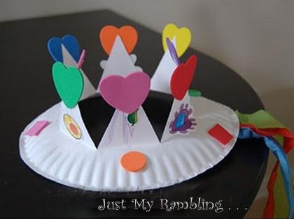 coronas niños plato carton