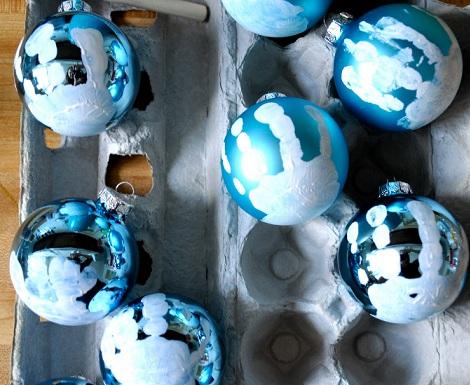 hacer bolas navidad huella