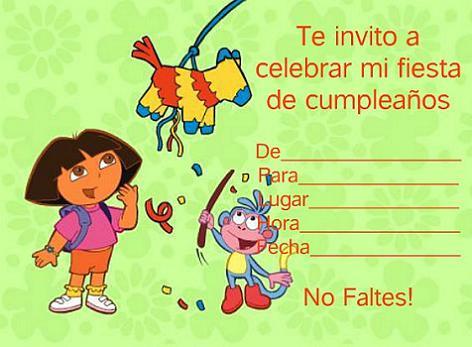 Invitación de cumple de Dora la exploradora
