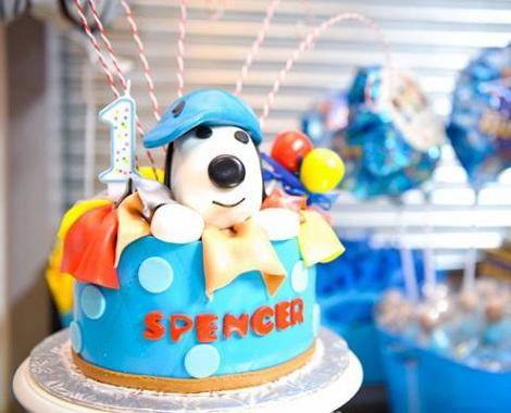 cumpleaños un año snoopy  tarta