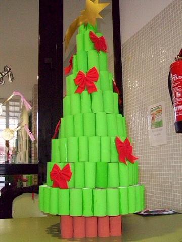 arbol navidad rollos papel