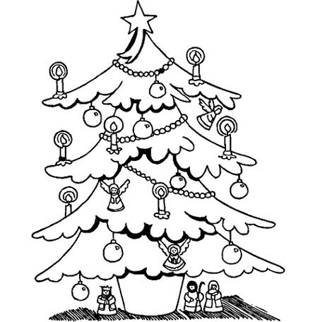 dibujos colorear navidad arbol